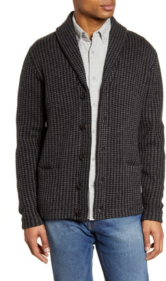 Schott NYC Houndstooth Wool Blend Cardigan Sweater