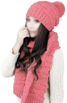 SODIAL(R)Women's Winter Knitted Scarf and Hat Set Thicken Skullcaps