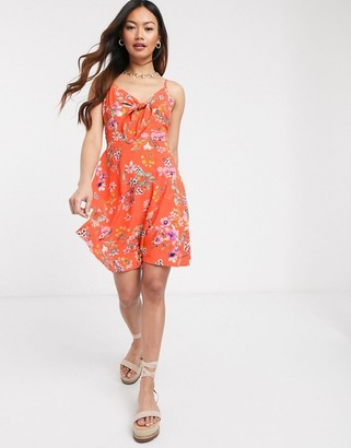 Gilli mini skater dress in orange floral