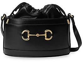 Gucci Women's Small Morsetto Horsebit Leather Bucket Bag