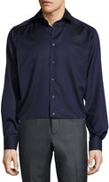Eton Solid Button-Front Shirt, Navy