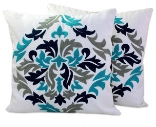 Novica Handmade Fresh Leaves Cotton / Acrylic Thread Cushion Cover Pair