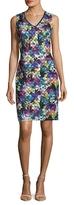 T Tahari Sally Lace Printed Sheath Dress