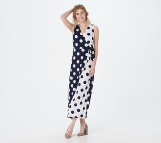 Susan Graver Petite Printed Liquid Knit Faux-Wrap Maxi Dress