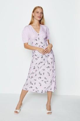 Coast Pink Mixed Print Short Sleeve Midi Tea Dress