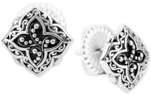 Lois Hill Scroll Work & Filigree Decorative Stud Earrings in Sterling Silver