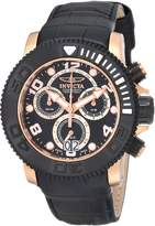 Invicta Men's Pro Diver/Sea Hunter Chronograph Black Dial Black Genuine Calf Leather