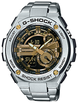 Casio Gst-210d-9aer G-shock Chronograph Day Bracelet Strap Watch, Silver/gold