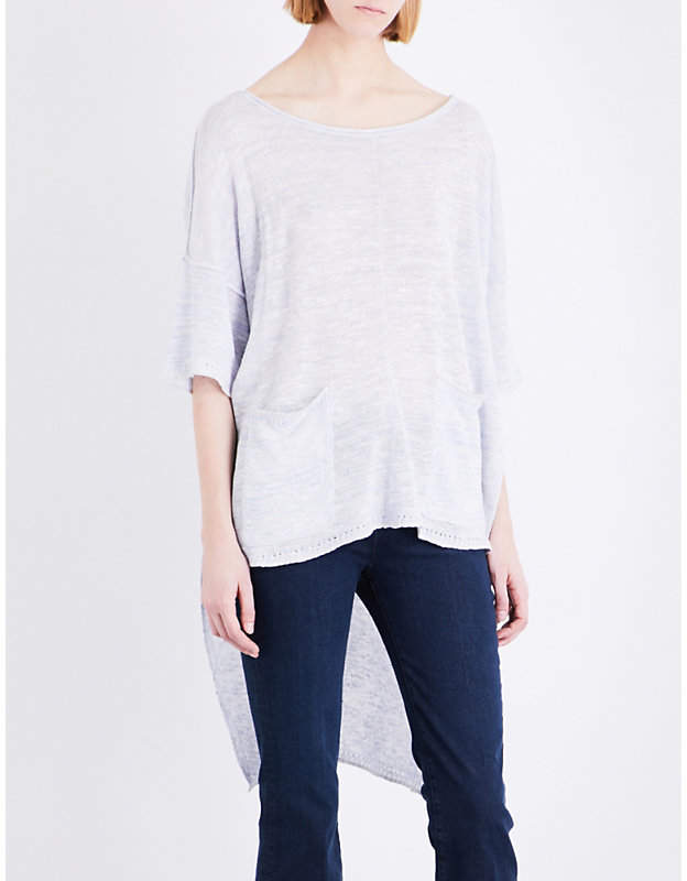 Free People Stepped-hem linen-blend top