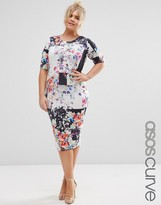 Asos Floral Square Print Midi Bodycon Dress