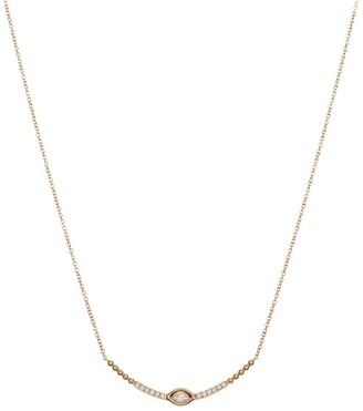 Bony Levy 18K Yellow Gold Diamond Curved Bar Pendant Necklace - 0.14 ctw