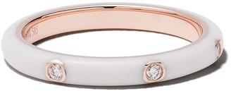 Ef Collection 14kt rose gold 3 diamond stack ring