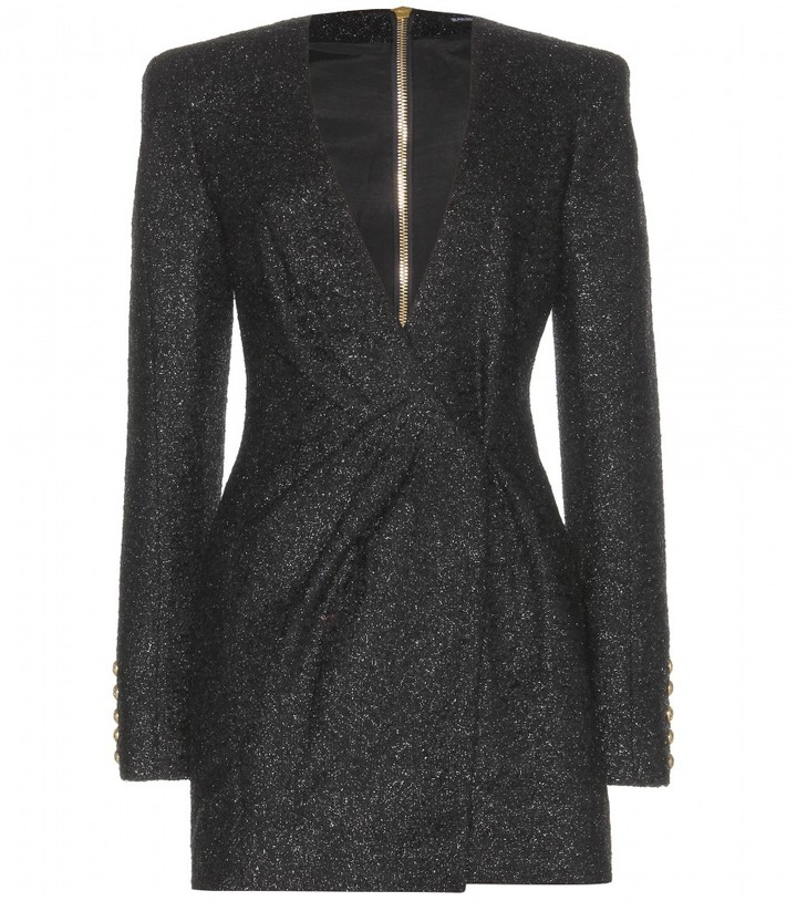 Balmain Metallic-tweed mini dress