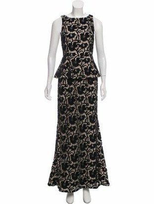 Alice + Olivia Guipure Evening Dress Black