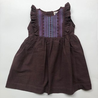 Olive Loves Alfie - Mahogany Iris Embroidered Dress - 1-2 Years - Purple