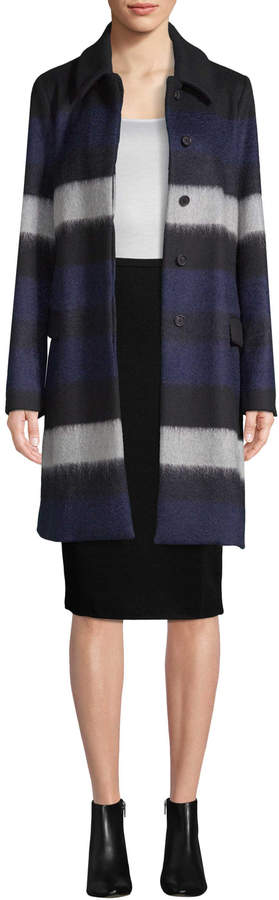 Diane von Furstenberg Women's Wool Striped Coat
