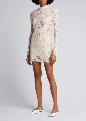 Stella McCartney Mock-Neck Lace Mini Dress