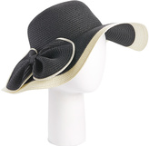 Black & White Bow-Accent Straw Sunhat