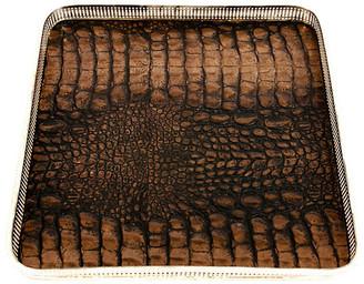 One Kings Lane Vintage English Sheffield Plate Crocodile Tray - La Maison Supreme - silver