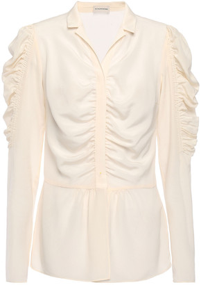 By Malene Birger Ruched Silk Crepe De Chine Shirt