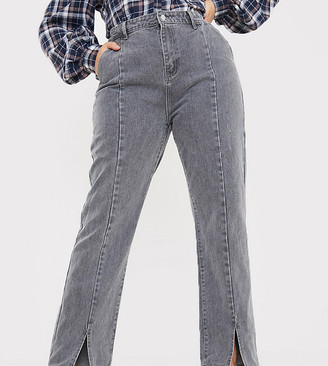 In The Style Plus x Olivia Bowen high waisted split front straight leg jean in grey