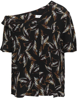 A.L.C. Josefine One-shoulder Printed Silk Shirt