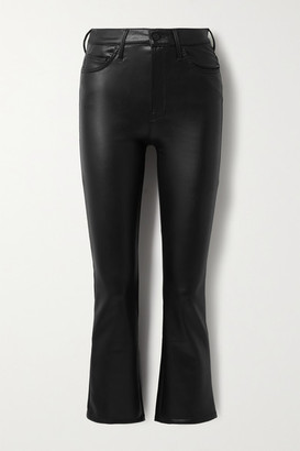 Mother The Insider Crop Faux Stretch-leather Flared Pants - Black