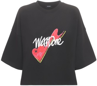 we11done Logo Cotton Jersey Cropped T-shirt