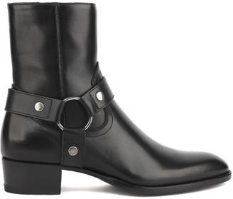 Saint Laurent Black Wyatt Harness Marrakesh Leather Ankle Boots