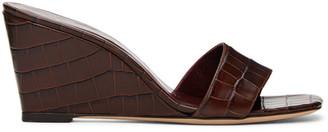 STAUD Brown Croc Billie Wedge Sandals