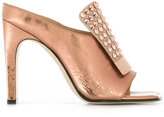 Sergio Rossi studded trim sandals - women - Leather/Crystal - 36