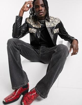 ASOS DESIGN regular leather look shirt with snake print