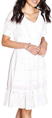 Yumi Broderie Lace Frill Dress, Ivory