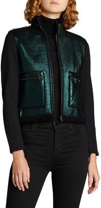 Majestic Filatures Metallic Leather-Front Jacket w/ Sherpa Lining
