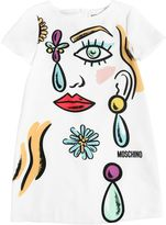 Moschino Face Printed Crepe De Chine Dress