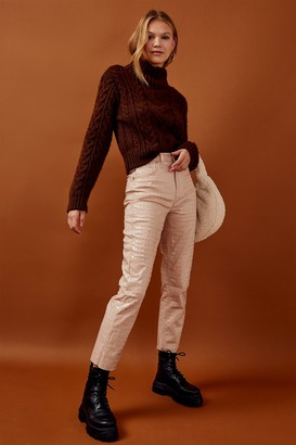 Topshop Womens Brown Cable Knitted Crop Roll Neck Jumper - Chocolate