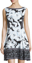 Maggy London Sleeveless Printed Dress, Clear Sky