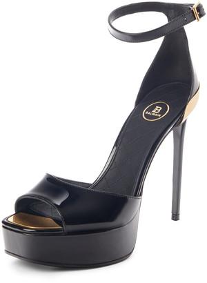 Balmain Pippa Logo Platform Ankle Strap Sandal
