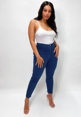 Missguided Plus Size Blue Outlaw High Waisted Jeggings