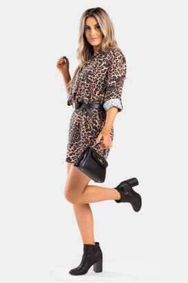 francesca's Leela Leopard Shift Dress - Brown