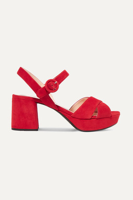 Prada 65 Suede Platform Sandals - Red