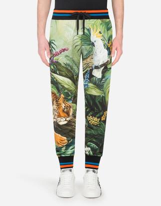 Dolce & Gabbana Jersey Jogging Pants With Jungle Print