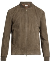 Brunello Cucinelli Zip-through suede bomber jacket