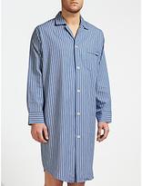 Derek Rose Woven Cotton Stripe Nightshirt, Blue/white