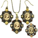 Brown Cameo Antique Vintage Cameo Jewelry Set Necklace Pendant Ring Dangle Earrings