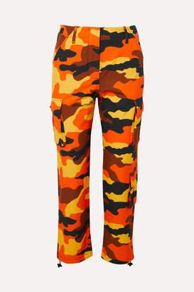 Off-White Camouflage-print Cotton Straight-leg Pants - Orange