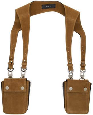 Amiri Brown Suede Body Harness Bag