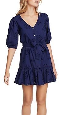 1 STATE Cotton Eyelet Flounce Dress