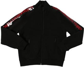 DSQUARED2 Zip-Up Cotton Sweatshirt W/ Logo Bands
