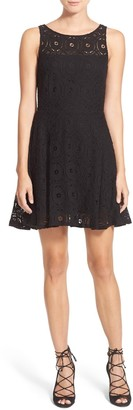 BB Dakota Renley Lace Fit & Flare Mini Dress